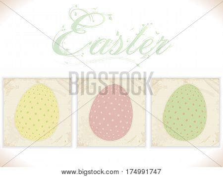 Three Vintage Square Panels with Printed Decorated Easter Eggs and Floral Text Background