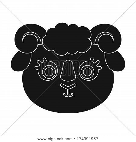 Ram muzzle icon in black design isolated on white background. Animal muzzle symbol stock vector illustration.