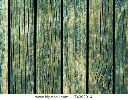 Color wood background. Green wood texture with vertical lines. Wooden background for natural banner. Timber texture closeup. Vertical wooden planks of floor backdrop photo. Natural material background