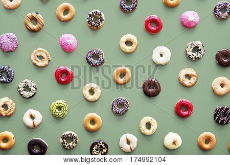 Varities of donut flavor shot in aerial view