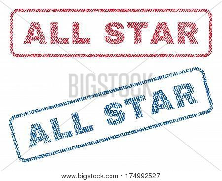 All Star text textile seal stamp watermarks. Blue, red fabric vectorized texture. Vector tag inside rounded rectangular shape. Rubber sticker with fiber textile structure.