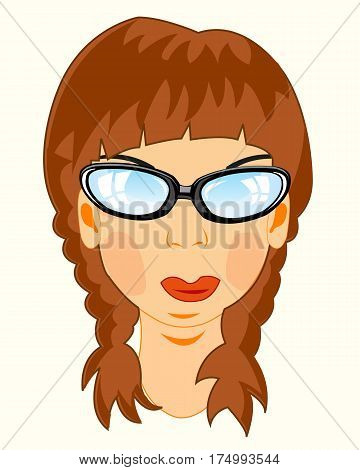 Making look younger beautiful girl on white background bespectacled