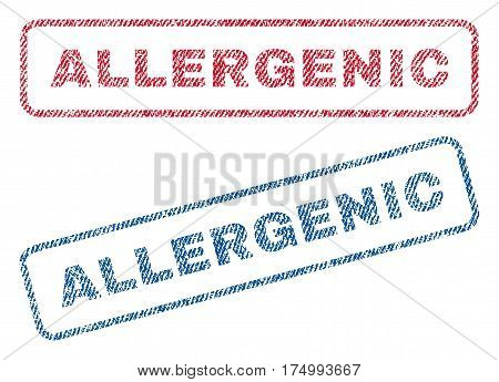 Allergenic text textile seal stamp watermarks. Blue, red fabric vectorized texture. Vector tag inside rounded rectangular shape. Rubber sticker with fiber textile structure.