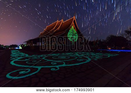 star trails at the Thai church / star trails on the sky