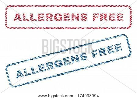 Allergens Free text textile seal stamp watermarks. Blue, red fabric vectorized texture. Vector caption inside rounded rectangular shape. Rubber sticker with fiber textile structure.