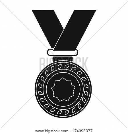 Silver medal on a red ribbon.The award for second place in the competition .Awards and trophies single icon in black style vector symbol stock web illustration.