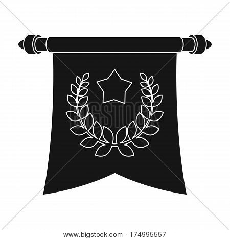 A red flag on a gold pole with the emblem of the first Olympics.Awards and trophies single icon in black style vector symbol stock web illustration.