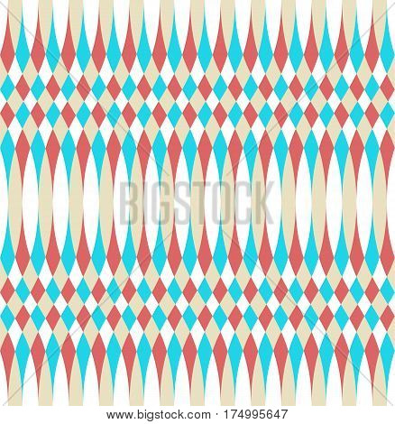 Abstract vector seamless op art pattern. Color plop art, graphic ornament. Optical illusion repeating texture.