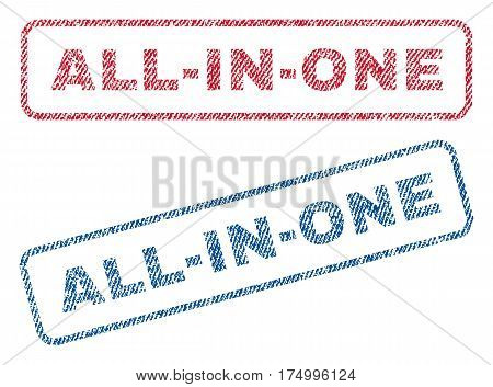 All-In-One text textile seal stamp watermarks. Blue, red fabric vectorized texture. Vector tag inside rounded rectangular shape. Rubber sticker with fiber textile structure.