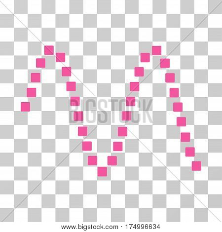 Sinusoid icon. Vector illustration style is flat iconic symbol, pink color, transparent background. Designed for web and software interfaces.