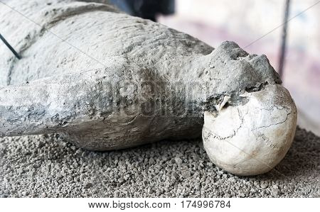 victim in pompeii of the eruption of mt vesuvius in the year 79 BC. during the rule of Roman Emperor Vespasian