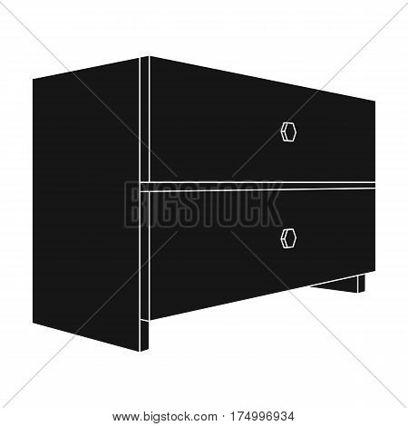 White bedside table with two drawers.Room accessories for all sorts of things.Bedroom furniture single icon in black style vector symbol stock web illustration.
