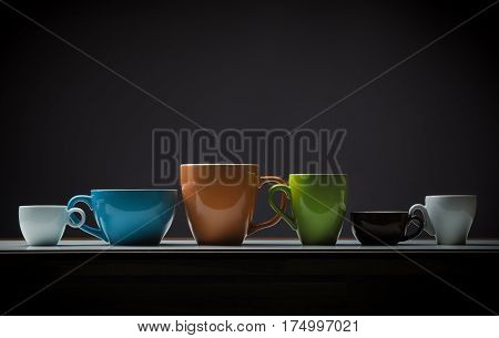 Assortment of a different coffee cups on a table