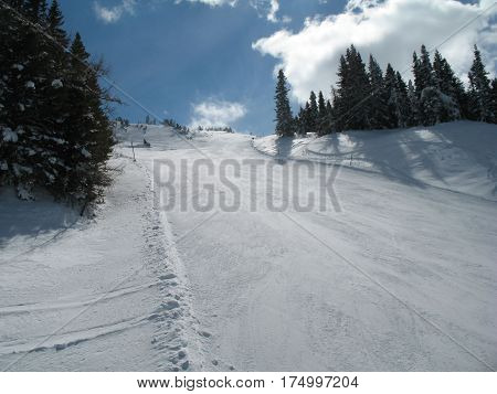 Mountain ski slope seen from below. ski slope with white fresh snow and surrounding trees in sunny day.
