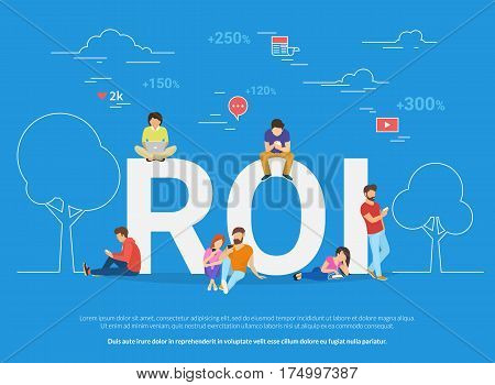 ROI vector illustration of young people using devices for buying new apps and digital goods increasing buyer rate. Flat concept design of return on investment and ecommerce rate analysis and research