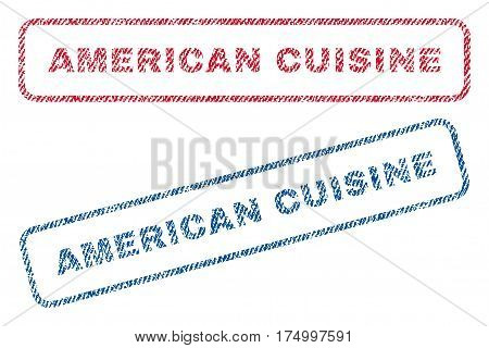 American Cuisine text textile seal stamp watermarks. Blue, red fabric vectorized texture. Vector tag inside rounded rectangular banner. Rubber sign with fiber textile structure.