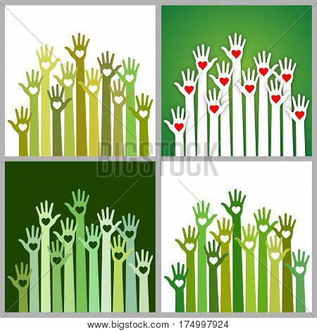 Set of bright  green white colors colorful caring up hands hearts vector logo design element. Volunteers hands up with heart emblem icon for education, health care, medical, volunteer, vote.