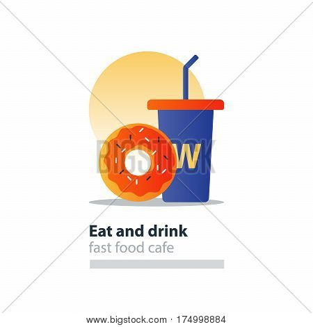Doughnut and tumbler glass with straw, fast food cafe concept, sweet donut with frosting and sprinkes, vector flat design illustration