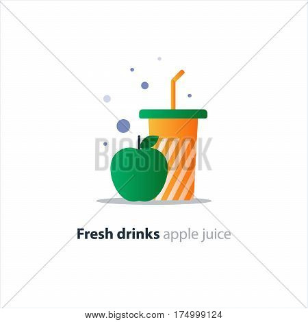 Fresh apple juice, large tumbler glass with stripes, fruit smoothie, refreshing drink, vector flat design illustration