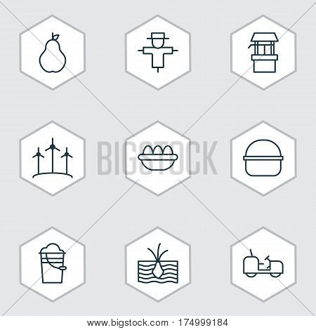 Set Of 9 Plant Icons. Includes Package, Bucket, Ovum And Other Symbols. Beautiful Design Elements.