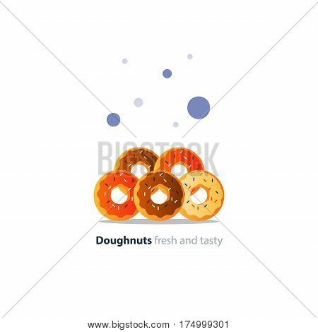 Five diverse colorful doughnuts in pile, sweet tasty ring donuts icon, glazed doghnuts with sprinkles, vector flat design illustration