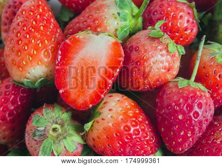 Group Of Of Red Ripe Strawberry Fruit
