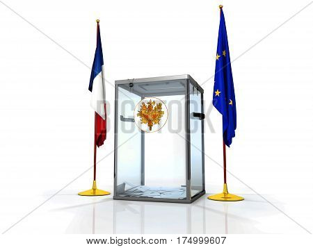 Realistic empty transparent ballot box with voting paper and flag of France and Europe Union, 3d illustration