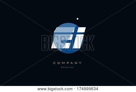 Ei E I  Blue White Circle Big Font Alphabet Company Letter Logo