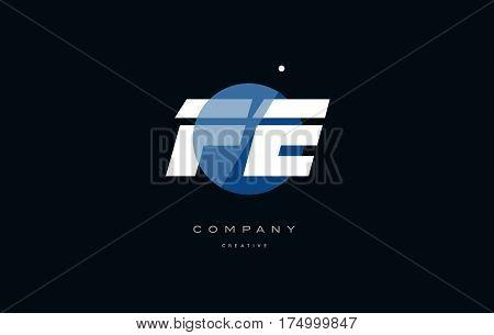 Fe F E  Blue White Circle Big Font Alphabet Company Letter Logo