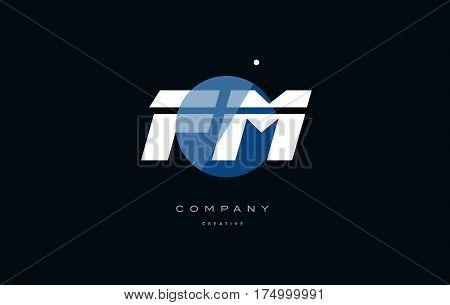 Fm F M  Blue White Circle Big Font Alphabet Company Letter Logo