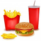 Photo-realistic vector. Big group of fast food products. poster