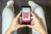 A woman is shopping at the online store. Shopping cart icon. Ecommerce. poster