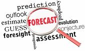Forecast Prediction Outlook Estimate Word Collage Magnifying Glass 3d Illustration poster