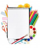 Back to school. Notepad with school supplies. Vector. poster