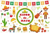 Cinco de Mayo celebration in Mexico, icons set, design element, flat style.Collection objects for Cinco de Mayo parade with pinata, food, sambrero, tequila cactus, flag. Vector illustration, clip art poster