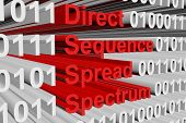 direct sequence spread spectrum in the form of binary code, 3D illustration poster