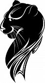 abstract head of the black panther on white background poster