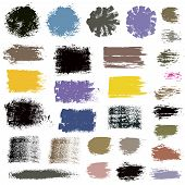 Grunge paint vector. Painted brush stroke stripes. Rectangle text box round. Distress texture backgrounds. Hand drawn banners, labels. Black textured design elements. Grungy scratch effect paintbrush poster