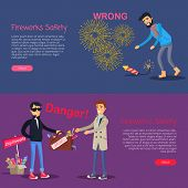 Fireworks safety. Danger deal and wrong usage of pyrotechnics web banner. Man leans to pick up burning firecracker. Man selling cheap and illegal counterfeit to trustful male person. Vector. poster