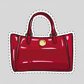 Woman dark red bag patch in flat style. Female handbag isolated. Elegant ladies colorful bag. Leather bag. Female accessory object. Handbag with handle, clips. Cut out of paper. Vector illustration poster