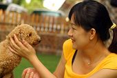 An asian lady touching a happy cute little brown poodle. poster