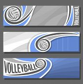 Vector set horizontal Banners for Volleyball: 3 cartoon covers for title text on volleyball theme, blue sporting court with fly ball, abstract simple headers banner for inscriptions on grey background poster