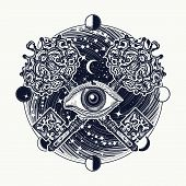All seeing eye tattoo occult art masonic symbol and vintage magic key. Mystical esoteric symbol of secret knowledge. All seeing eye mystery of universe t-shirt design poster