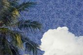 Top of coconut palm against a sky with fluffy white clouds in the style of van gogh poster