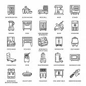 Restaurant professional equipment line icons. Kitchen tools, mixer, blender, fryer, food processor, refrigerator, steamer, microwave oven. Thin linear signs for commercial cooking equipment store. poster