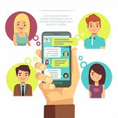 Hand holding smartphone with online chat with friends. mobile chat, social network, instant messaging sms vector concept. Internet communication with friends illustration poster