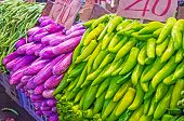 The vegetable stall in Fose Market - heaps of bright green peppers and purple eggplants Colombo Sri Lanka. poster