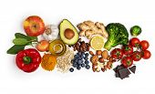 Selection of healthy food on white background. Healthy diet foods for heart cholesterol and diabetes. poster