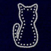 Silhouette of cat with Rhinestones diamonds on the dark blue coton texture. Vector illustration. poster