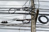 High voltage power pole with wires tangled,Wire and cable clutter. Potential danger from a mess of wires , Electric pole with electric wire tangled,very messy electricity or telephone pole. poster